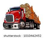 cartoon logging truck isolated... | Shutterstock .eps vector #1010462452