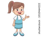 cute school girl cartoon | Shutterstock .eps vector #1010464222