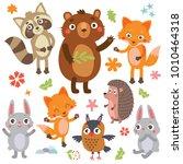 funny animals set | Shutterstock .eps vector #1010464318