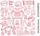 time to hygge. hand drawn... | Shutterstock .eps vector #1010468002