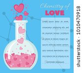 card with flask with hearts... | Shutterstock .eps vector #1010470918
