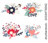 set of vector bouquets. flowers ... | Shutterstock .eps vector #1010473042