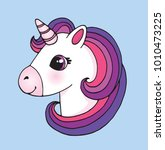 cute cartoon unicorn head emoji.... | Shutterstock .eps vector #1010473225