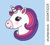 cute cartoon unicorn head emoji.... | Shutterstock .eps vector #1010473225