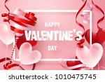 paper art of happy valentine's...   Shutterstock .eps vector #1010475745