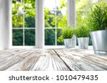 desk of free space with green... | Shutterstock . vector #1010479435
