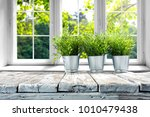 desk of free space with green... | Shutterstock . vector #1010479438