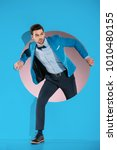 handsome man in fashionable... | Shutterstock . vector #1010480155