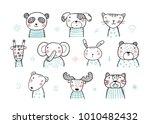 cute scandinavian style animal... | Shutterstock .eps vector #1010482432