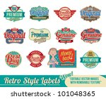 Stock vector vintage retro labels and tags editable vector images with removable texture 101048365
