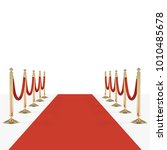 red carpet and red ropes on... | Shutterstock .eps vector #1010485678