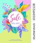 tropical hawaiian sale poster... | Shutterstock .eps vector #1010492128
