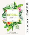 tropical hawaiian poster with... | Shutterstock .eps vector #1010492152