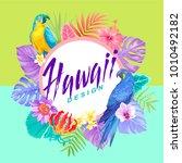 tropical hawaiian flyer with... | Shutterstock .eps vector #1010492182