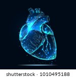 vector isolated heart. low poly ... | Shutterstock .eps vector #1010495188