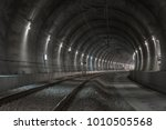 railway tunnel with lights | Shutterstock . vector #1010505568