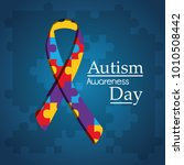 autism awareness day puzzle...   Shutterstock .eps vector #1010508442