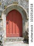 Red Church Door In Rural Devon  ...