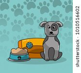 dog pet sitting with bed and... | Shutterstock .eps vector #1010516602