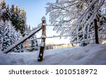 bavarian landscape in winter  ... | Shutterstock . vector #1010518972