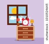 alarm clock on bedside table... | Shutterstock .eps vector #1010524645
