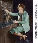 portrait of telephone operator | Shutterstock . vector #101052916