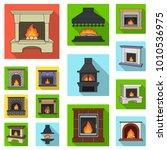 different kinds of fireplaces... | Shutterstock .eps vector #1010536975