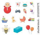 children's toy cartoon icons in ... | Shutterstock .eps vector #1010539375