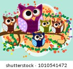 happy family of owls on... | Shutterstock .eps vector #1010541472