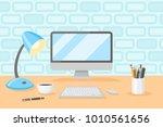 desktop with personal computer  ...   Shutterstock .eps vector #1010561656