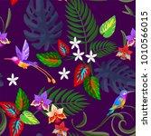 hummingbird in junglee or... | Shutterstock .eps vector #1010566015