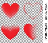 transparent hearts set | Shutterstock .eps vector #1010575066