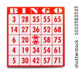 red bingo card isolated on a... | Shutterstock . vector #1010583535