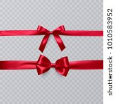 set of realistic red bows on... | Shutterstock .eps vector #1010583952