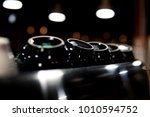 white and black coffee cups on... | Shutterstock . vector #1010594752