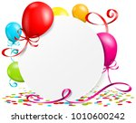 button with balloons  confetti... | Shutterstock .eps vector #1010600242