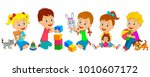 kids  boys and girls sit with... | Shutterstock .eps vector #1010607172