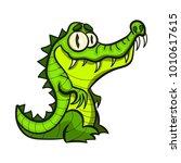 cute cartoon crocodile flat...   Shutterstock .eps vector #1010617615