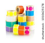 colored label rolls isolated on ... | Shutterstock . vector #1010625178