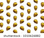 pattern of metallic skulls...   Shutterstock . vector #1010626882