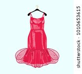 red party dress with decor.... | Shutterstock .eps vector #1010653615
