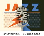 retro jazz poster design with... | Shutterstock .eps vector #1010655265