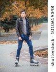young attractive guy roller... | Shutterstock . vector #1010659348