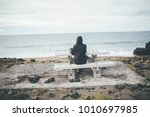 isolated nostalgic woman siting ... | Shutterstock . vector #1010697985