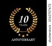 10 years gold anniversary... | Shutterstock .eps vector #1010707672
