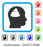 shit brain icon. flat grey...