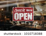 a business sign that says  come ... | Shutterstock . vector #1010718388