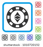ethereum casino chip icon. flat ...