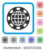 globe casino chip icon. flat...