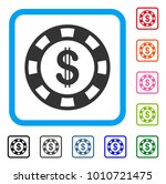 dollar casino chip icon. flat...
